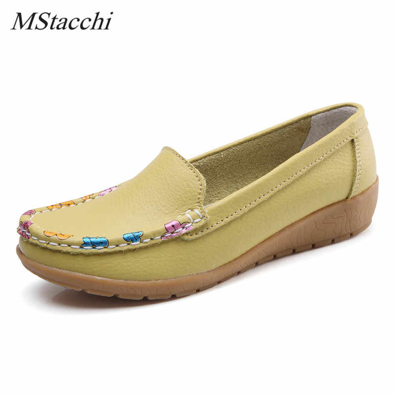Mstacchi New Style Women Nurse Shoes Comfortable Genuine Leather Shoes Woman Non-Slip Platform Shoes Appliques Flats Lady Shoes