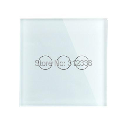 free shipping 3 gang 1 way  Glass touch switch panel White Color wall switch popular sales  super  thickness is 5 mm