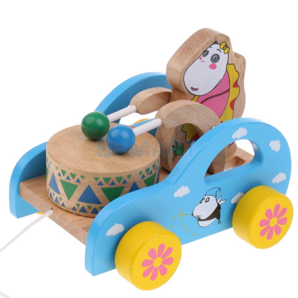 Funny Toddler Kids Developmental Toys Bear Drum Car Wooden Educational Sound Toy Drag Along Walker Toy