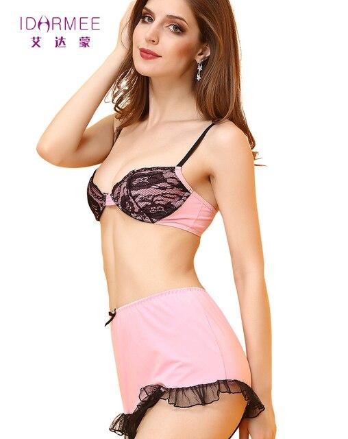 IDARMEE HOT Sale Da Moda Womens Boudoir Conjunto Rosa Sexy Lingerie Bra + G cordas + Garter Set & Sugere Novo chegada Mulher Sexo S6460