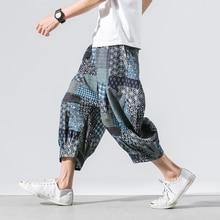 Harajuku 5XL Harem Pants Men 2019 Summer Cotton Linen Vintage Joggers Baggy Pant Wide Leg Trousers Streetwear Casual Sweatpant
