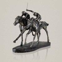 Классический скачки скульптура ручной работы смолы и Медь Jockey статуя спорта Сувенирное украшение Подарки художественных промыслов орнаме