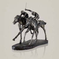Classic Horse Racing Hand Sculpture Resin And Copper Jockey Statue Sports Souvenir Decoration Presents Art Craft Ornament L3213