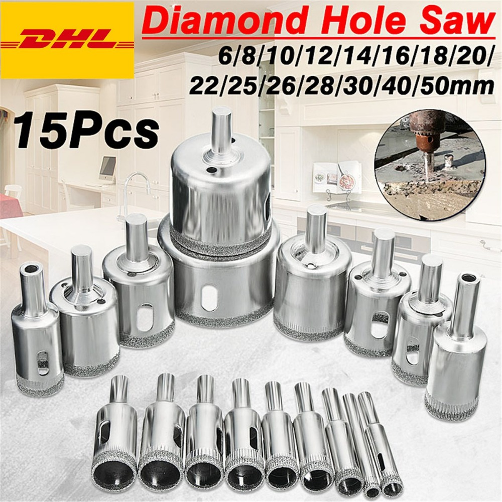 15 Pcs/ensemble 6mm-50mm Diamant Scie Cloche Foret Outil pour En Céramique Porcelaine Verre Marbre 6/8/10/12/14/16/18/20/22/25/26/28/30/40/50 m
