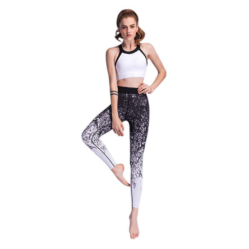 Woman Elastic Printed Yoga Pants Fitness Running Gym Sport Trousers Dance Exercise Tights Jogging Compression Pant Sportswear