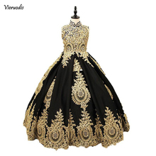 Black And Gold Lace Flower Girls Dress 2019 High neck With Corset Back Crystal Ball Gown Designer First Communion Pageant