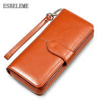 2019 Brand Oil Wax Women Wallet High Quality Genuine Leather Handbag for Female Wrist Bags High Capacity Ladies Day Clutch YI257