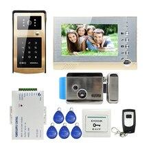 """ENVÍO de la NUEVA 7 """"pantalla de Grabación de Vídeo Teléfono de Puerta de Intercomunicación Timbre Kit Código RFID Teclado de Metal Al Aire Libre de La Cámara + 8G SD + E-lock"""
