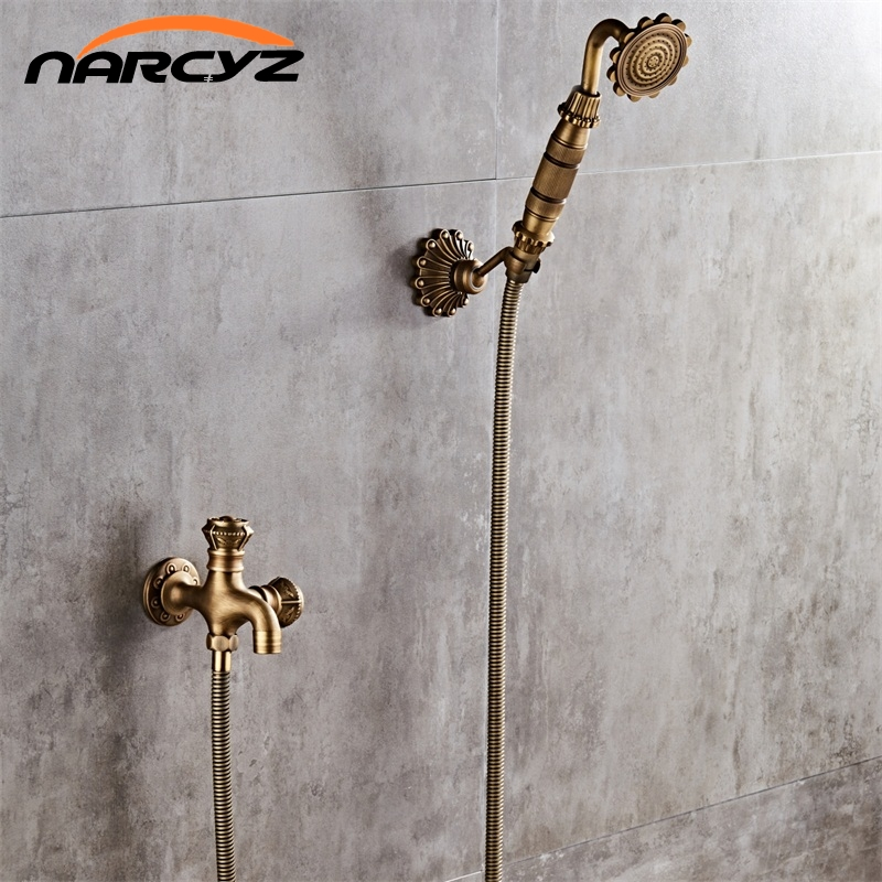 Luxury NEW Antique Brass Rainfall Shower Set Faucet + Tub Mixer Tap + Handheld Shower Wall Mounted Free Shipping XT342 flg free shipping bamboo antique brass rainfall bamboo shower faucet set bath tub mixer tap single handle shower wall mounted