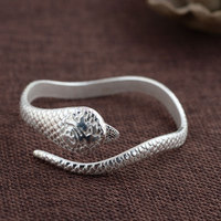925 Silver Snake Bangle Fashion Simple Vintage Open Size Diameter 58mm 100 S925 Sterling Silver Bangles