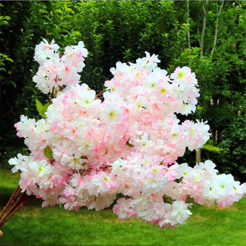 Image 5 - 30p Artificial Waterfall Cherry Blossom Flower Branch White/pink/Champagne Cherry Begonia Sakura Tree Stem with Green Leaf-in Artificial & Dried Flowers from Home & Garden