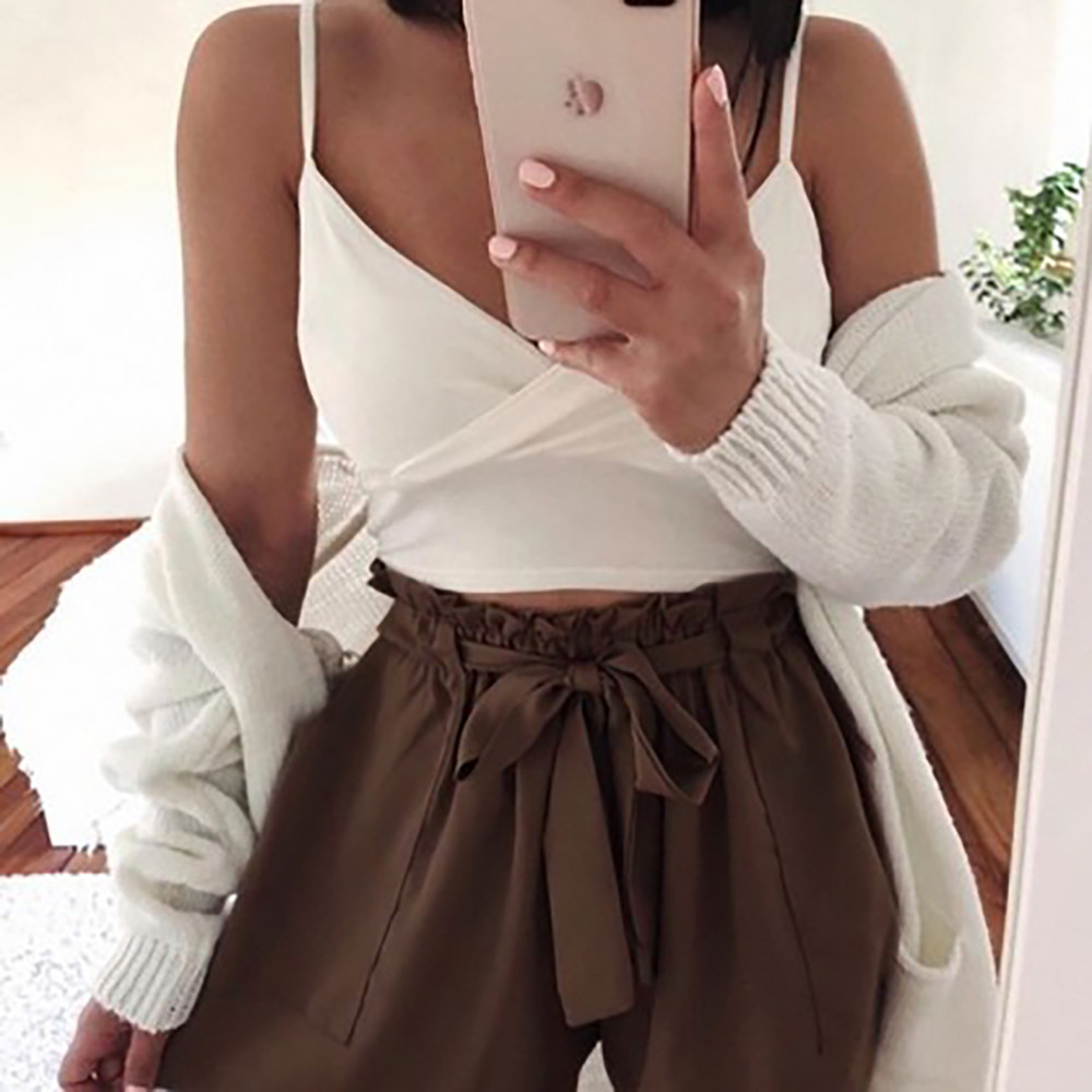 Womail Women pants   Shorts   Solid Pocket High Waist Bandage Easy Elastic Casual   Short   Pants Casual Daily denim color dropship j23