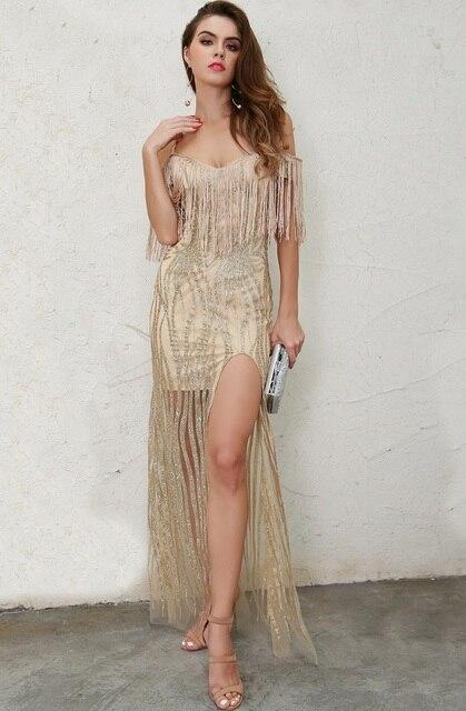 75536b6886 Gold High Split Maxi Dress Fringe Tassels Off Shoulder Sexy Night Out  Glitter