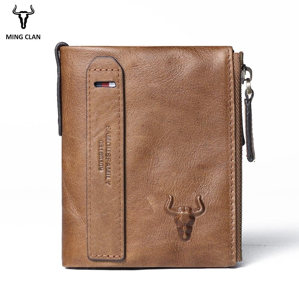 241730285ec7 ... Купить Mingclan из натуральной кожи Для мужчин кошельки Короткие  портмоне Бизнес держатель для карт двойная молния коровьей кожаный бумажник  кошелек .