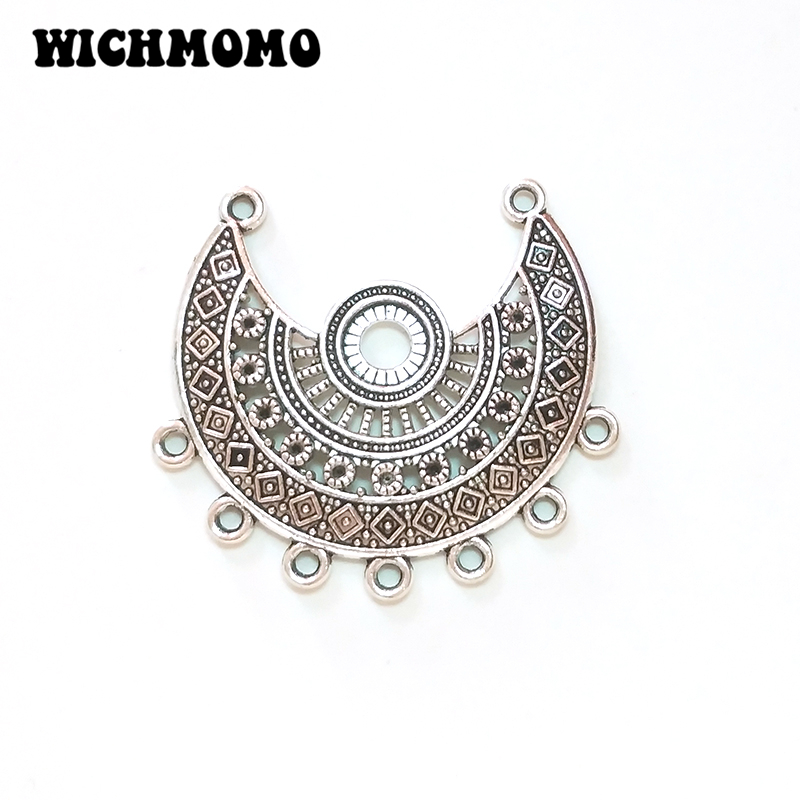 2019 New 3pcs 41*44MM Retro Silver Zinc Alloy Crescent Hollow Out Moon Connectors Charms Pendants For DIY Jewelry Accessories
