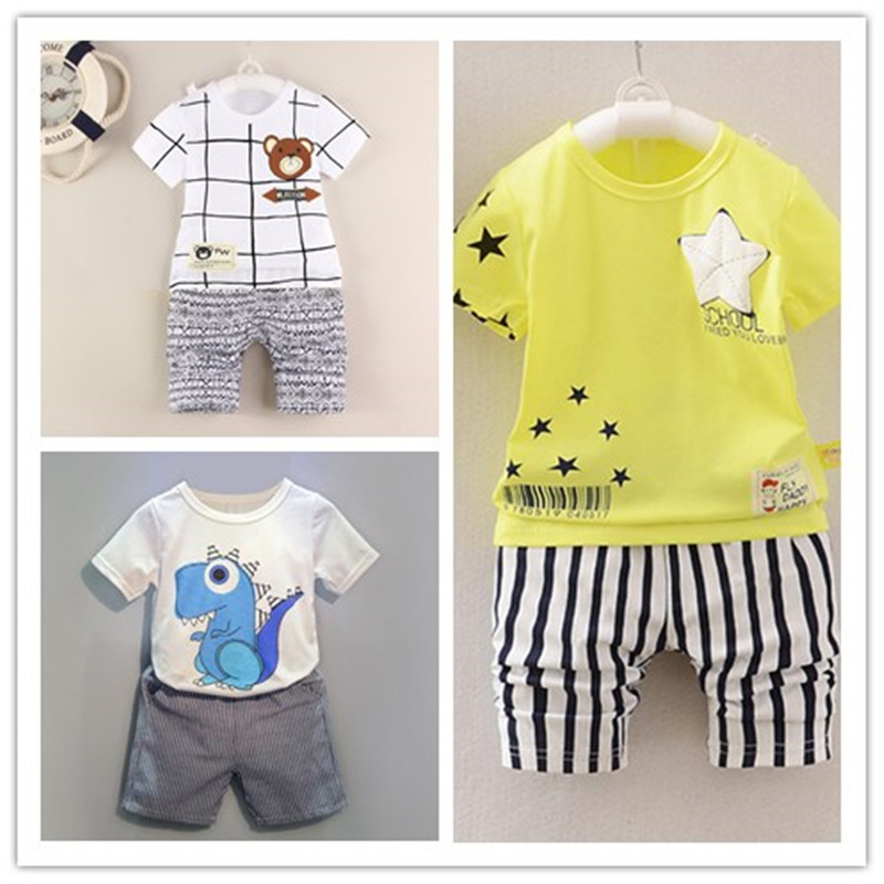 2017 new Summer children dinosaurs patterns suits boys girls clothing sets kids fake necktie tops t-shirt+pants 2pcs/set