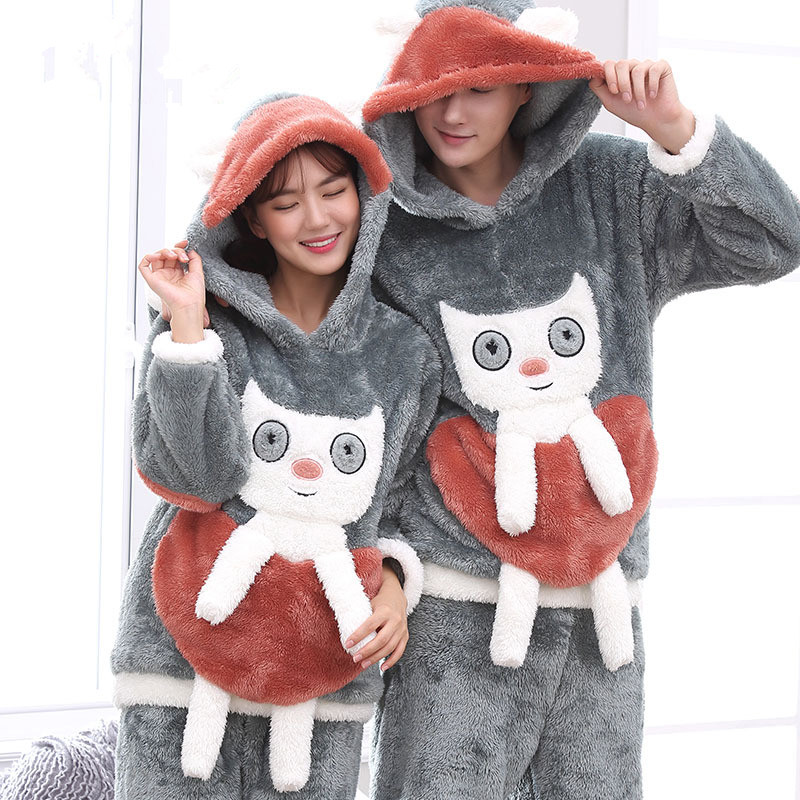 Long Sleeve Couple Coral Fleece Pajamas Cat Winter Flannel Warm Love Mens Pyjamas Women's Sleep Lounge Couples Pajama Sets