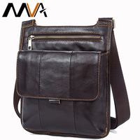 MVA Messenger Bag Men's Bag shoulder strap male Genuine leather for Male Business Travel Crossbody Small Flap Satchel Bags 8880