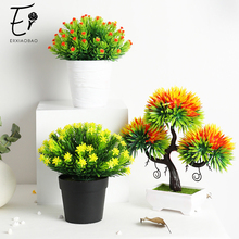 Erxiaobao Artificial Plants with Pot Eurya Chinensis Pine Simulation Bonsai Potted Placed Table Balcony Windows Decoration