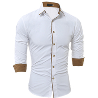 European Size Men S Slim Shirt Solid Color Casual Shirt 2018 Men S Brand New Listed