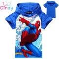 Новый 2016 мальчики футболка девушки топ футболки для детей детское детские человек-паук лето мультфильм дети футболки одежда