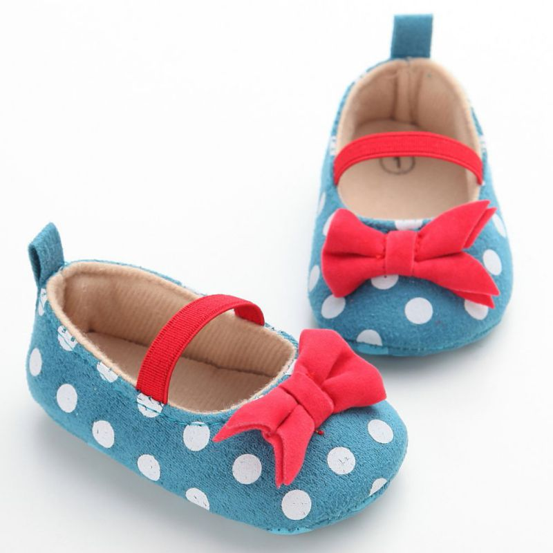 Baby Girls Soft Canvas Polka Dot Bowknot Shoes New Toddler Newborn Elastic Princess Anti-Slip Shoes First Walkers 13