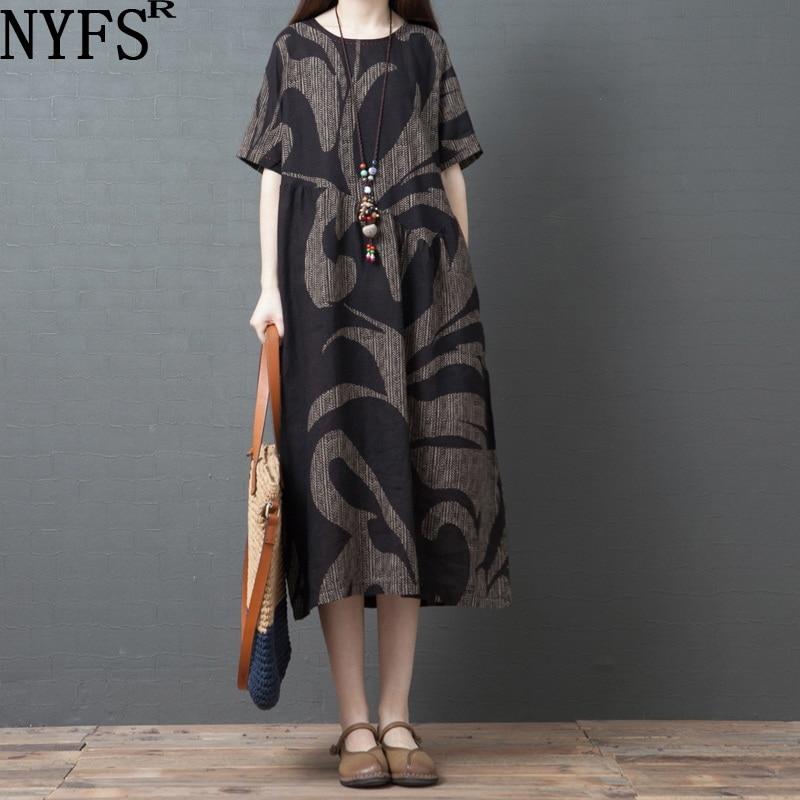 Винтажное длинное платье из хлопка и льна NYFS, свободное удобное платье с принтом, летнее платье, 2021