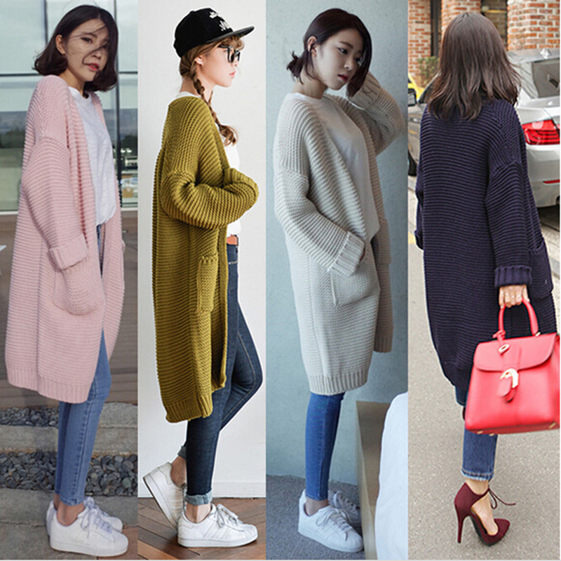 2018 Korean Style Fashion Women Long Sweaters Cardigan Autumn Winter