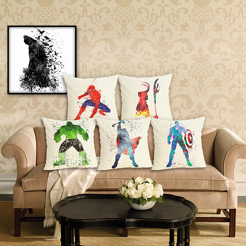 New Creativity Style Super Hero Pillow Case Sofa Cushion Soft Pillow Cove Cushion Cover Bedding Pillows Cotton Linen Square