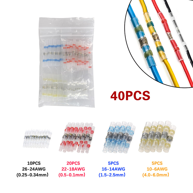 40Pcs Waterproof Solder Sleeve Heat Shrink Sordering Terminals Electrical Wire Insulated Butt Wire Connectors Set40Pcs Waterproof Solder Sleeve Heat Shrink Sordering Terminals Electrical Wire Insulated Butt Wire Connectors Set