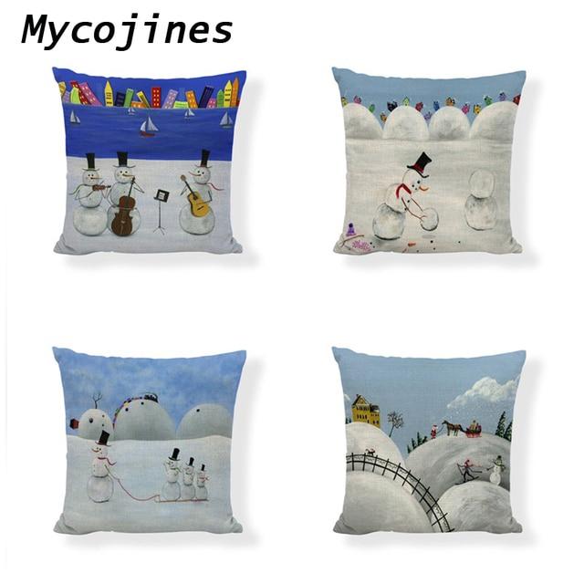 Funny Cute Christmas Snowman Cushion Cover 45*45 Cm Pillowcase New Year Child Gift Home Car Seat Living Room Sofa Chair Decorate