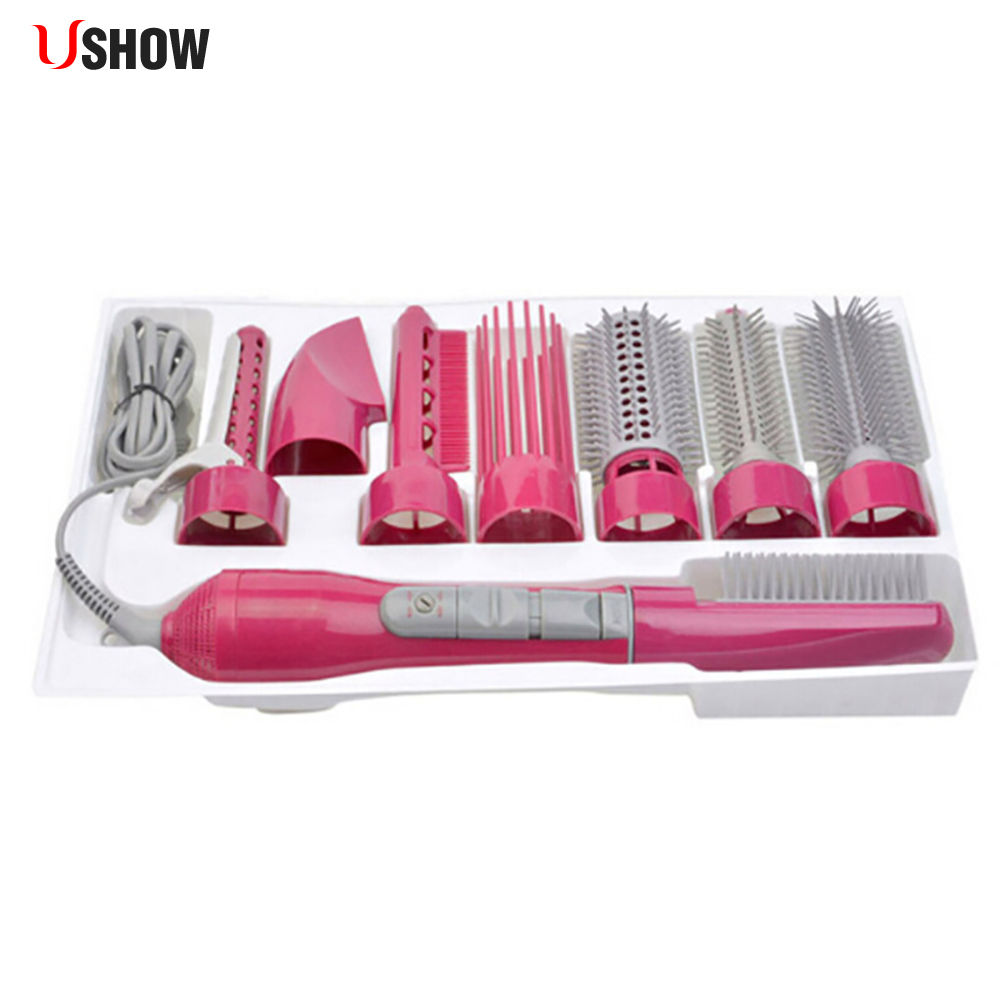 купить USHOW New 8 in 1 Hair Dryer Electric Hair Curler Roller Professional Blow Powerful Hairdryer Brush Comb with Attachments по цене 2141.24 рублей