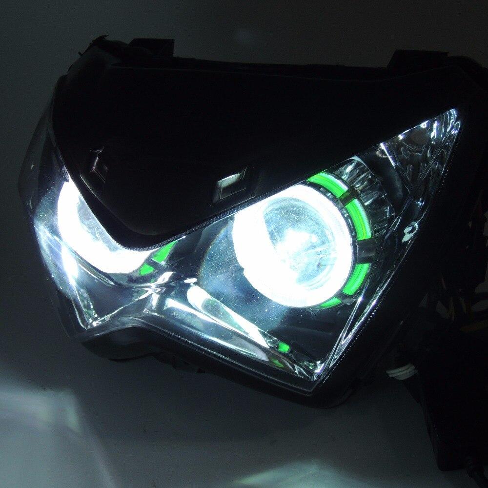 Z800 Halo Eye HID Projector Custom Headlight Assembly for Kawasaki Z800 2013 2014 2015 2016 Green angel eyes z800 vert