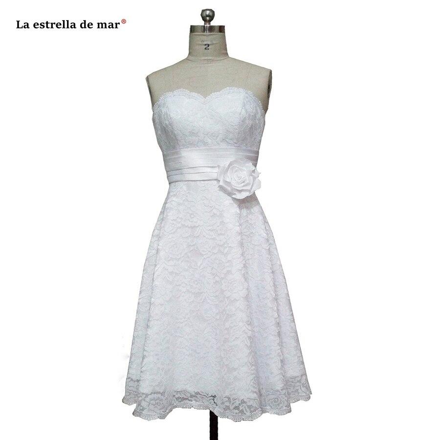 La estrella de mar wedding guest   dress   2019 new lace sexy sweetheart Off Shoulder a Line white   Bridesmaid     dresses   Tea Length
