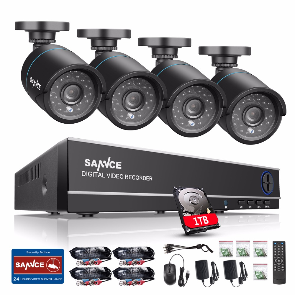 SANNCE 4CH 720P CCTV System 1080P HDMI DVR Kit 4PCS 720P 1.0MP Security Cameras 1200TVL Video Surveillance System 1TB HDD sannce hd 4ch cctv system 1080p hdmi dvr 2pcs 720p 1280tvl cctv ir outdoor video surveillance security cameras 4ch dvr kit