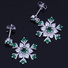 Unusual Snowflake Green Cubic Zirconia White CZ 925 Sterling Silver Drop Dangle Earrings For Women V1022