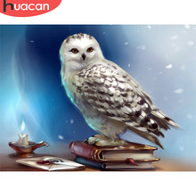 Huacan Mosaic Owl Diamond Embroidery Wall Art Square Animal Cross Stitch Diamond Painting Bedroom Decor Needlework Gift Festive