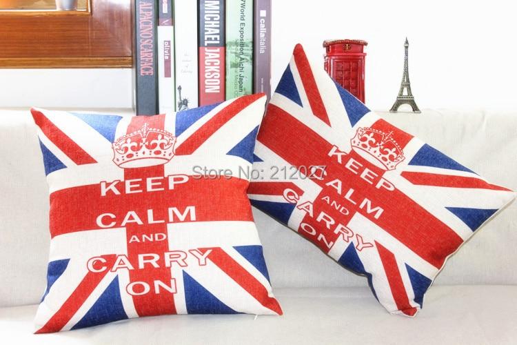 Union Jack Home Decor Cushion Linen Cotton Pillow Sofa Cushions Decorative Throw Pillow