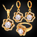 U7 Cubic Zirconia Wedding Jewelry Sets For Women Yellow Gold Plated Rose Flower Earrings Ring Necklace Sets S101