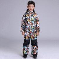 GSOU SNOW Children's Ski Suit Ski Clothing Thick Warm Waterproof Windproof One Piece Ski Wear For Boys Size XS L