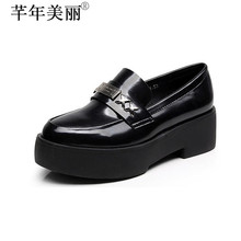 Round Toe Women's Fashion Horsebit Glossy Patent Leather Wedge Pumps Med Heel Court Shoes Small Size 33 Plus Size 43WP070