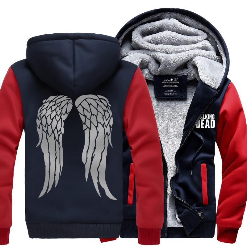 New The Walking Dead Zombie Hooded Daryl Dixon Wings Winter Fleece Mens Shirts Sale Hot hoodie Sweatshirts Thicken