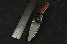 2016 Sale Limited Wood Knives High Quality Outdoor Folding Knife Self-defense Damascus Red Cherry Survival Hardness Wild Fruit