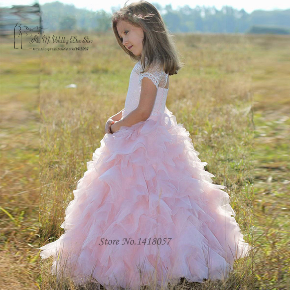 Pink Lace First Communion Dresses For Girls Ruffles Spring Pretty
