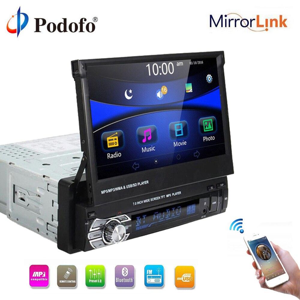 Podofo 1 din Multimedia Player Stereo audio Bluetooth Car Radio no GPS 1DIN 7 Universal Retractable Autoradio FM USB MP5 Player