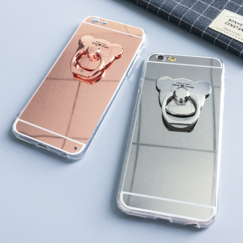 best service a2e8e eb440 US $3.29 |For iPhone 7 Plus Phone case + Universal Cute bear Metal Finger  Ring Holder High Quality Phone Cover for iPhone 6 6S Plus-in Fitted Cases  ...