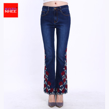 Plus Size Embroidery Stretching Flared Jeans Women Dimensional With Bell-bottoms Jeans Stretch Nine Long Jeans Large Size