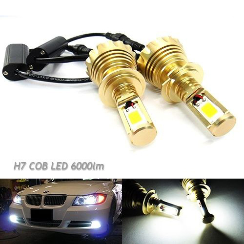 2x H7 High Power 60W COB LED HeadLight 499 Bulb Daytime Fog Light DRL HID 6000lm(CA229) free shipping cob led h7 car headlight kit 66w 6000lm auto front light h7 fog bulb 3000k xenon white 6000k led headlamp