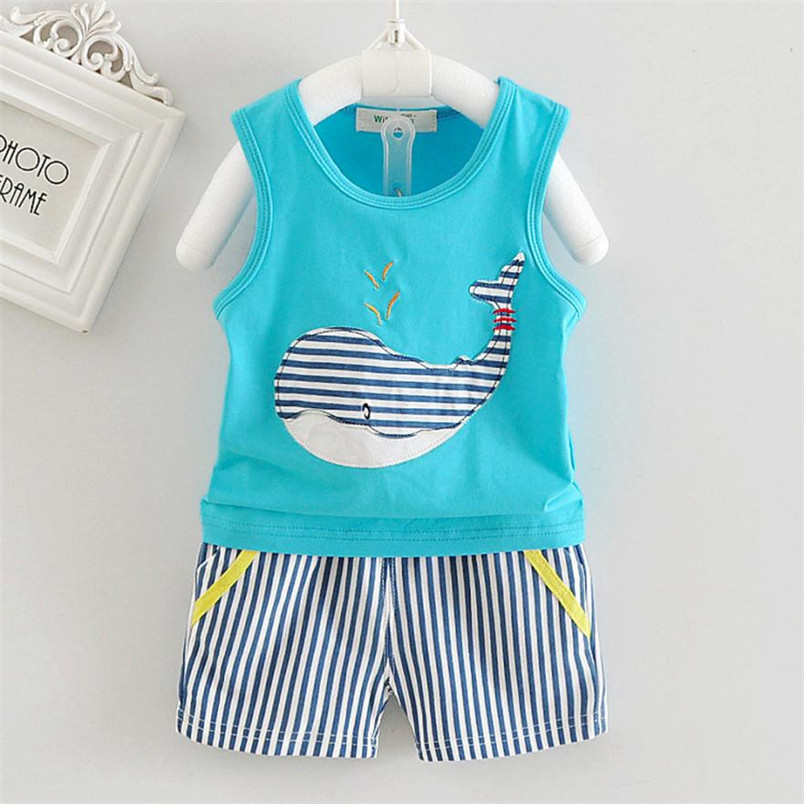 Newborn Baby Boys Girls Sleeveless Whale Print Top+Shorts Outfits Clothes Cute Summer Baby Boys Girls Clothes DropShipping, Xm30