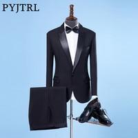 PYJTRL Men Classic Shiny Closure Collar Black Wedding Groom Groomsman Suits Stage Singer Tuxedo Terno Slim